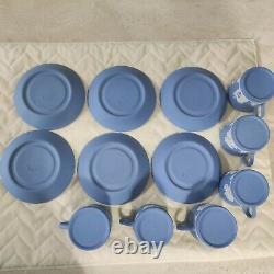 12 pcs Wedgwood Jasperware Blue & White Tea Cup & Saucer Set Marked