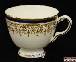 20 Piece Delphine Tea Cup & Saucer Set Cobalt & Gold Ornate Pattern Vintage