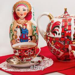250 ml Red Horse Tea Cup & Saucer Set by Imperial Porcelain Lomonosov LFZ