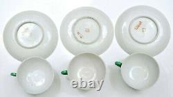 9 Piece Chinese Green Sgraffiato Porcelain Dragon Teapot Cup Saucer Tea Set Mk