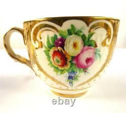 ANTIQUE ENGLISH PORCELAIN TEA COFFEE CUP SAUCER PLATE SET FLOWERS Pat. 2990 a