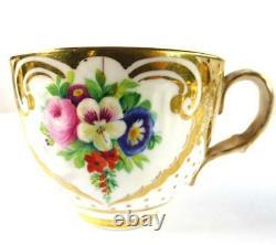 ANTIQUE ENGLISH PORCELAIN TEA COFFEE CUP SAUCER PLATE SET FLOWERS Pat. 2990 b