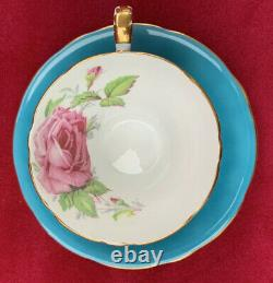 AYNSLEY TEAL / BLUE TEA CUP & SAUCER SET With PINK CABBAGE ROSE