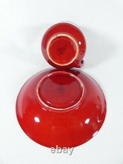 Antique Art Deco 1923 Royal Doulton Flambe 8pc Teacup Duo Set Cup Saucer Tea Red