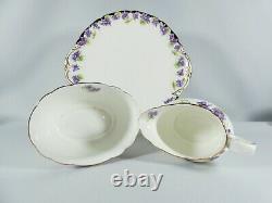 Antique Art Deco Royal Doulton Violets 15pc Tea Set Trio Cup Saucer Plate H3747