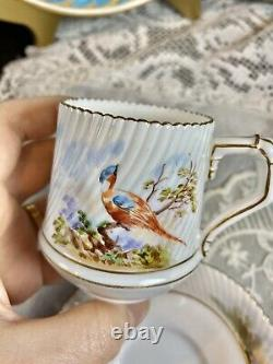 Antique Bodley EBD HP Bird Tea Cup Saucer Set Bamboo Handle