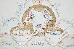 Antique C1830 Tea Coffee Set Coalport Ridgway Fine Bone china Trio Cup Saucer