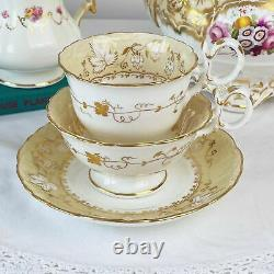 Antique Coalport Adelaide true trio saucer, tea cup and coffee cup set
