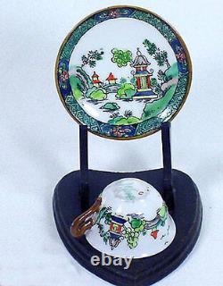 Antique Crown Staffordshire Willow Miniature Mini Doll Cup Saucer Teaset Tea Set