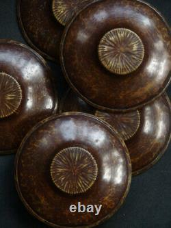 Antique Japanese Copper Tea Cup Tray Saucer Chataku Set of 5