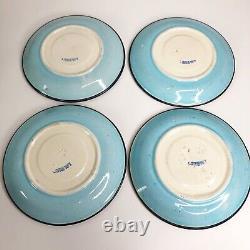 Antique LONGWY FRANCE Tea Cups & Saucer Plates Set Enameled Pottery Floral