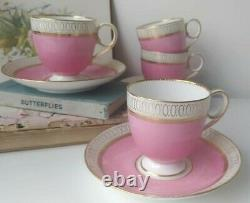 Antique Pink Brown Westhead Moore Coffee Cup & Saucer Set. English Tea Ware