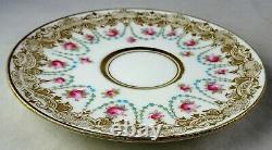 Antique Royal Doulton Demitasse Tea Cup & Saucer Set Raised Blue Dots HP Roses