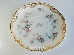 Antique / Vintage Haviland Limoges Floral Gold Gilded Tea Cup Saucer Set