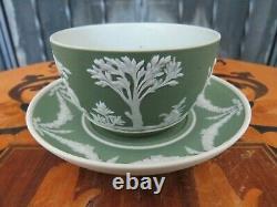 Antique Wedgwood Green Jasperware Glazed Tea Cup Saucer Set Sacrifice Figures