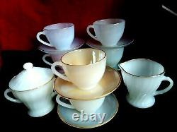Arcopal Opalescent Harlequin 6 Cups Saucers Tea Coffee Set France