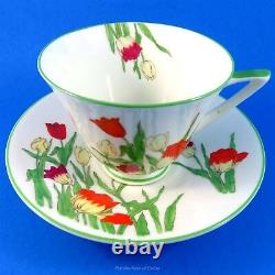 Art Deco Royal Doulton Handpainted Tulips Tea Cup and Saucer Set