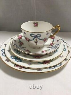 As Is 5-pc Crown Staffordshire Blue Ribbon Bow Tie Tea Set Cup Saucer Plates
