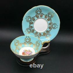 Aynsley Cabbage Rose 2347 Blue & Gold Pedestal Tea Cup & Saucer Set Bailey Cs90