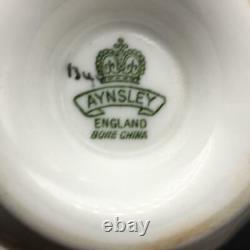 Aynsley Cabbage Rose Rare Rust Orange Fluted Tea Cup & Saucer Set Cs102