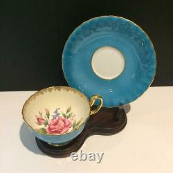 Aynsley Cabbage Rose Teal / Turquoise Tea Cup & Saucer Set Cs2