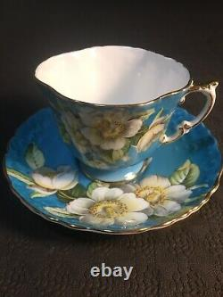 Aynsley Dogwood Flower Tuiquoise Tea Cup And Saucer Set