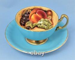 Aynsley England Tea Cup And Saucer Set Fruits Blue Gold