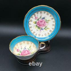 Aynsley Pink Cabbage Rose On Blue Tea Cup & Saucer Set With Gold Filigree Cs100