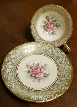 Aynsley Soft Green Heavy Gold Cabbage Rose Tea Cup and Saucer Set C800