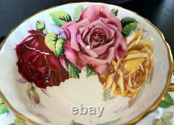 Aynsley Three 3 Large Pink Red Yellow Cabbage Roses Tea Cup And Saucer Set