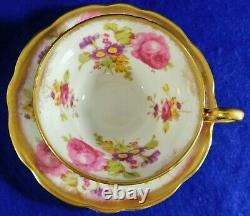Beautiful EB Foley England Purple/Pink Floral 24k Gold Trim Tea Cup & Saucer Set