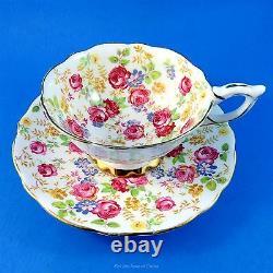 Beautiful Rose Chintz June Roses Royal Stafford Tea Cup and Saucer Set