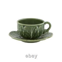 Bordallo Pinheiro Cabbage Tea Cup And Saucer Set of 4