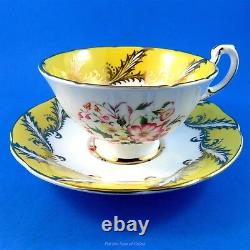 Bright Yellow Border with Floral Center Paragon Tea Cup and Saucer Set