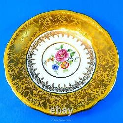 Bright Yolk Yellow with Floral Center Aynsley Tea Cup and Saucer Set