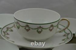 CA Limoges France Gold Roses Wreath Design Green Tea Cup Saucer Set 8