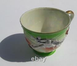 Chinese Dragon Antique Raised 3D Details Rare Vintage Asian Tea Cup & Saucer Set