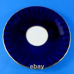 Cobalt Blue D. Jones Fruit Painted Aynsley Tea Cup and Saucer Set