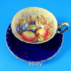 Cobalt Blue with Fruit Center Signed D. Jones Aynsley Tea Cup and Saucer Set