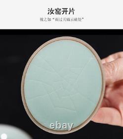 Crackle glaze gaiwan tea bowl lid saucer tureen blue and porcelain cup set 125ml