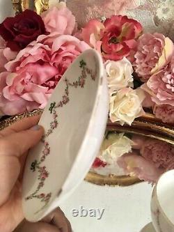 Crown Staffordshire Hand Painted Tea Cup Saucer Set Roses Ribbons Garlands