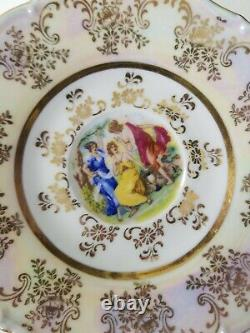 Czech Republic Gold Gilded Luster Tea Cup And Saucer Rucni Prace Set of 6