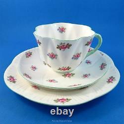 Dainty Shape Shelley Rosebud Tea Cup, Saucer and 7 1/4 Plate Trio Set
