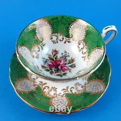 Emerald Green and Gold Edge with Floral Center Paragon Tea Cup and Saucer Set