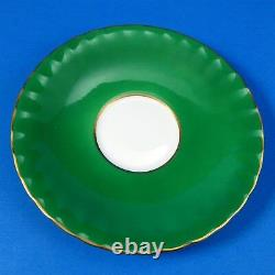 Emerald Green with Fruit Center and Gold Border Aynsley Tea Cup and Saucer Set