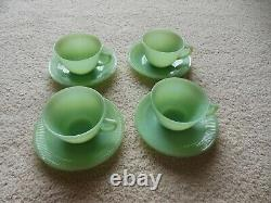 Fire King Jadeite Jane Ray Set of 4 Tea cups and Saucers