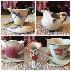 Franz collection porcelain sculptured cup+ saucer tea set and milk/cream jug
