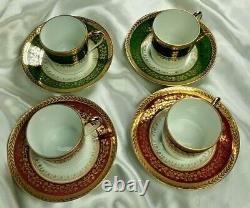 French Limoges Demitasse Coffee Tea Set Porcelain Cup Saucer Gold Gilt Vintage