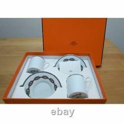 HERMES 002716P2 Porcelain Cup Saucer Chaine d'ancre 2 set Tea Coffee
