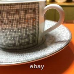 HERMES Porcelain Tea Cup Saucer Mosaique Au 24 Platinum Tableware set Ornament